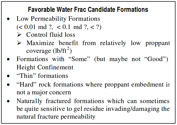 Favorable Water Frac Candidate Formations